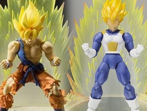 SH Figuarts Advanced Colors Vegeta and Super Saiyan Son Goku Warrior Awakening