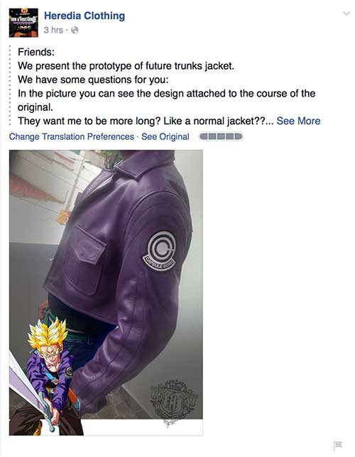 Heredia Clothing Future Trunks Jacket